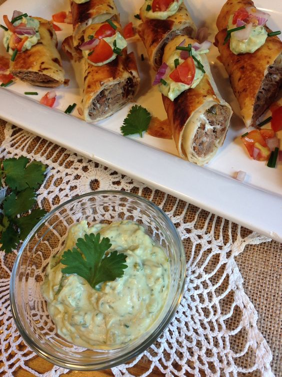 Pickled Jalapeno & Beef Taquitos with Lime Avocado Cream sauce
