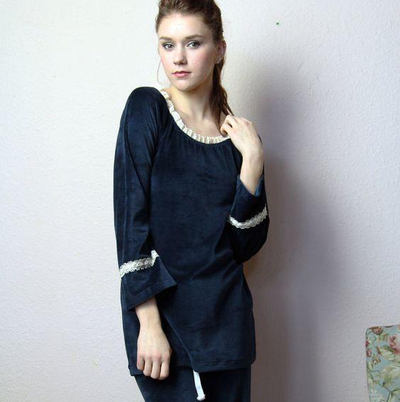 pajama sleep shirt in cotton velour  made by sandmaidensleepwear