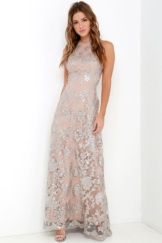 Wedding guest dresses sequin gown beige dresses display backless