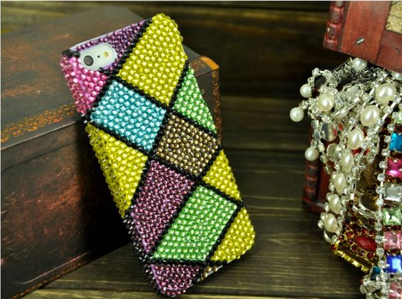 Handmand Bling Diamond 3D Case for iPhone 5 Colorful Grid, Skytechking.com
