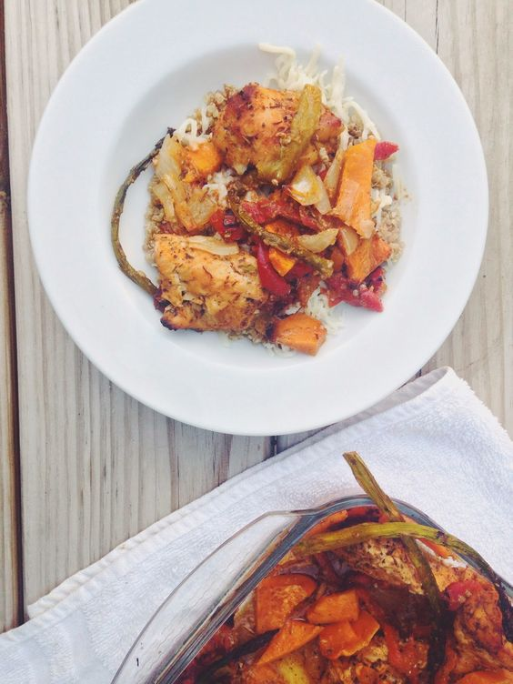 Herb roasted chicken with sweet potatoes, red peppers, and asparagus // the sparkle kitchen