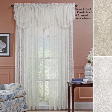 Lace curtains Curtain panels and Lace window on Pinterest