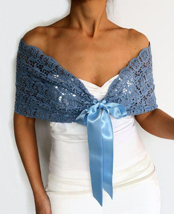 Blue Lace Shrug, Shoulder Wrap, Evening Scarf Shawl, Cotton Lace Bridal Bolero, Top Capelet, Cape, W