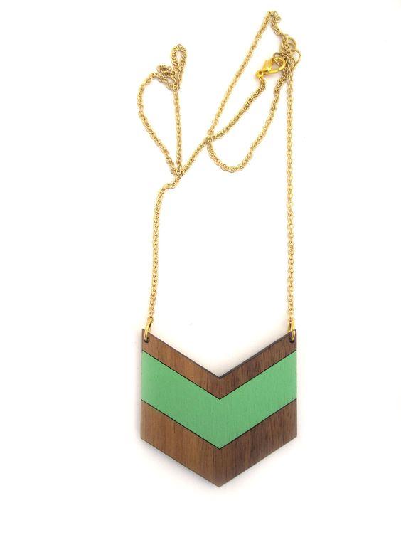 Mint & Chevron Necklace  Laser Cut Wooden Hand by HavokDesigns, $36.00