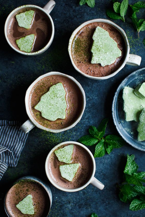 Matcha Marshmallows with Fresh Mint Hot Cocoa