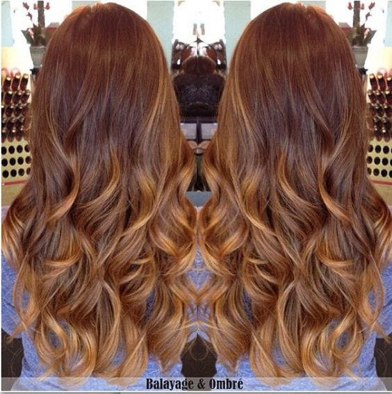 Balayage karamelfarbene highlights and goldbraun on pinterest - Balayage braun caramel ...