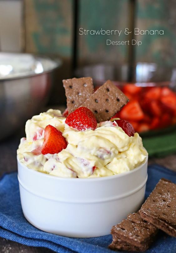 Strawberry & Banana Dessert Dip - If your crowd loves strawberries & bananas this is for you. on kleinworthco.com