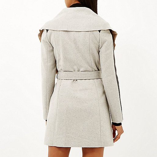 Back view to our Essential Edit grey wool-blend belted wrap coat