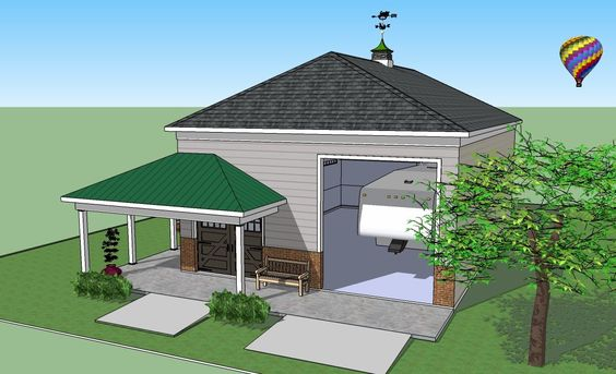 Metal garages porch roof and garage on pinterest for Metal garage with porch