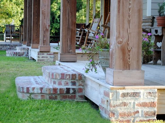 All porches face the front of the property and the for Cypress porch columns