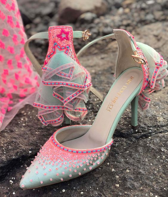Love this mint blue pink heels. #Frugal2Fab