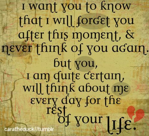 I want you to know that I will forget you after this moment and never think of you again, but you, I'm quite certain will think about me every day for the rest of your life. - Ever After #quotes #everafter