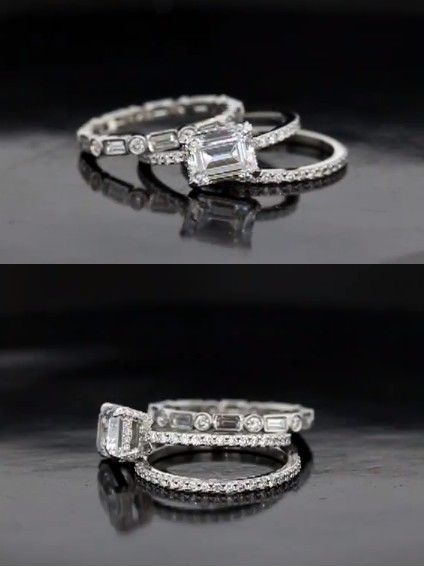 STUNNING diamond wedding set inspired by Kate Beckinsale's set  #emerald cut #pave #eternity band.     Created by #Scottsdale based jewelry designer, Joseph Schubach. Call (888) 724-8222 for your next custom design jewelry. We're 3rd generation experts.