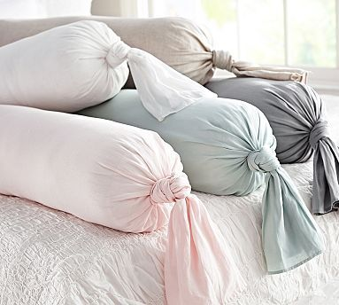 Linen Knot Bolster Pillow Cover #potterybarn -- cute! BUT I can do this myself for waaaaaaay less.