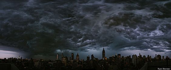 Powerful storms swept through New York City on July 26. Ryan Brenizer, a local photographer, snapped the panorama of the thunderstorm front moving over Manhattan