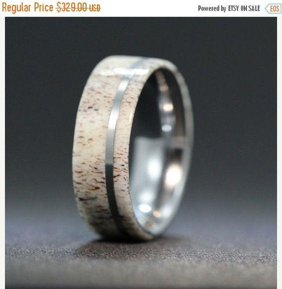 Hochzeit Verkauf Titan Ring eingelegt mit Deer Antler Inlay-Alternative Ehering, Ring Rüstung enthalten
