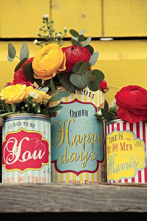 Flores en lata vintage