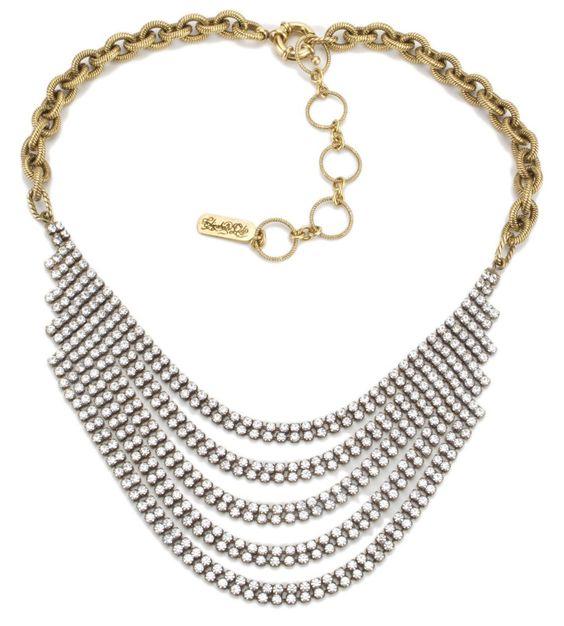 Elizabeth Cole Jewelry - Crystal Chain Bib Necklace