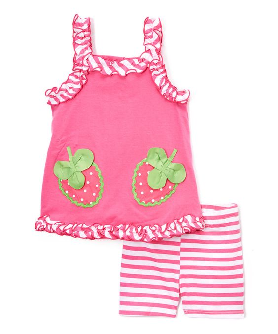 Pink Strawberry Ruffle-Trim Tank & Stripe Shorts - Infant by Young Hearts #zulily #zulilyfinds