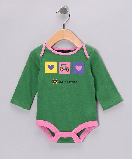 Green Tractor & Hearts Bodysuit - Infant