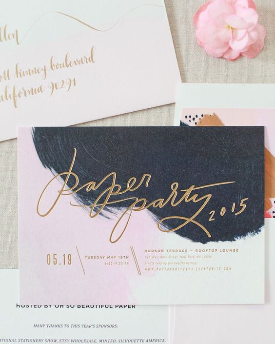 Oh So Beautiful Paper: Hand Painted Invitations with Matte Gold Foil for Paper Party 2015 / Design: Moglea / Printing: Bella Figura / Envelope Calligraphy: Meant to Be Calligraphy