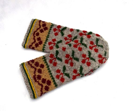 Hand knitted wool mittens, Latvian mittens, gray red mitts, colorful winter…
