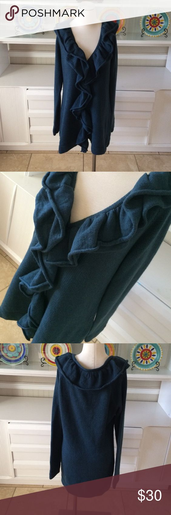 """Long ruffled sweater Perfect length to wear with leggings and boots.  33"""" long and 21"""" armpit to armpit.  Beautiful shade of blue!  Great condition! The Limited Sweaters Cardigans"""