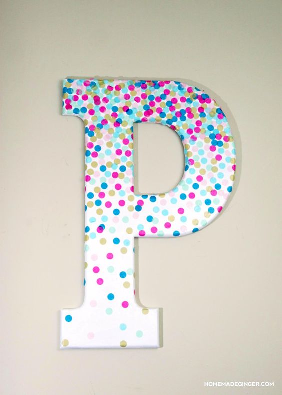 Create a DIY initial covered in spots for a great nursery wall art!
