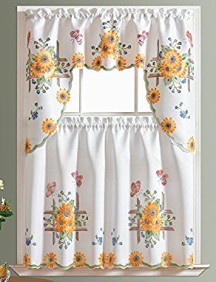 Amazon Com 3pcs Kitchen Curtain Cafe Curtain Set Air Brushed By Hand Of Sunflower Butterfly Design On Thi Cafe Curtains Ocean Home Decor Kitchen Curtains