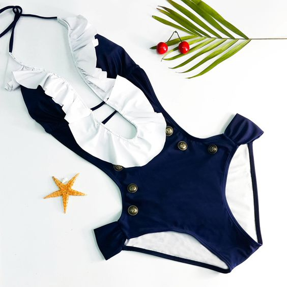 Chic Halter Low Cut Button Design One-Piece Women's Swimwear