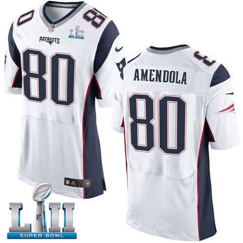 Nike Patriots 80 Danny Amendola White 2018 Super Bowl Lii Elite Jersey Nfl New England Patriots Jersey Patriots Nfl Jerseys