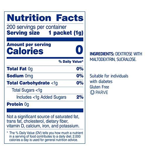 Sugarly Sweet By Equal Zero Calorie Sweetener With Sucralose 200 Packets Yellow Sweetener Packets Ingredients D Sucralose Sugar Alternatives Sweetener