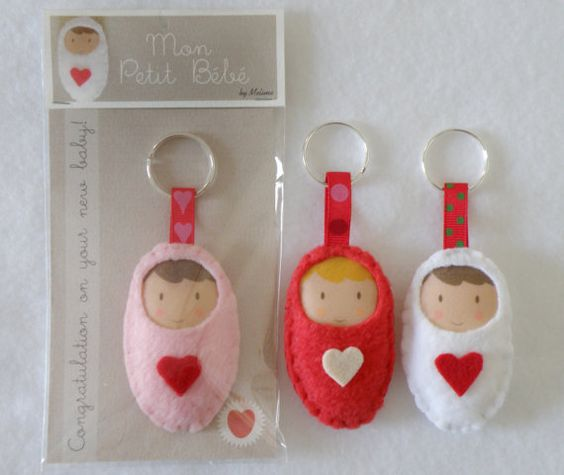 New Baby Brooch Keychain and Congratulations by Melimebabybeeshop, $10.00