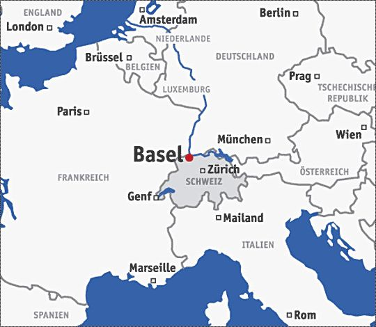 city of Basel shares the borders of Germany France Switzerland