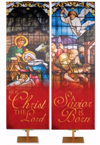 New! Stained Glass Christmas Collection Worship Banners