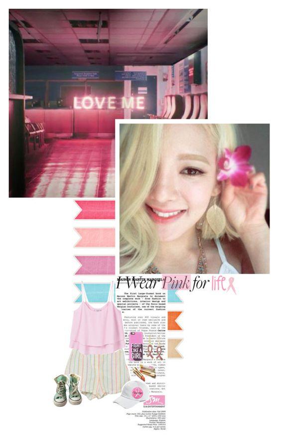 I wear pink for... feat. Kim Hyoyeon by luminoussuga on Polyvore featuring polyvore fashion style MANGO Converse West Coast Jewelry Ashley Stewart rag & bone Casetify clothing