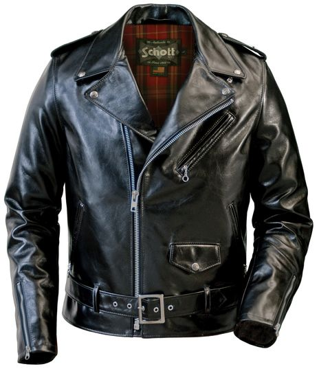 Schott 626 Lightweight Waxy Cowhide Fitted Motorcycle Jacket (Black)