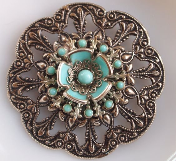 Large Costume Jewelry Brooches | Filigree Brooch Large Costume Vintage Jewelry by MollyMcShabby