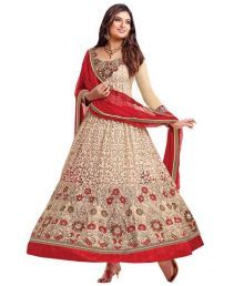 Bridal Collection Beige Net Semi Stitched Dress Material Price in India - Buy Bridal Collection Beige Net Semi Stitched Dress Material Online at Snapdeal