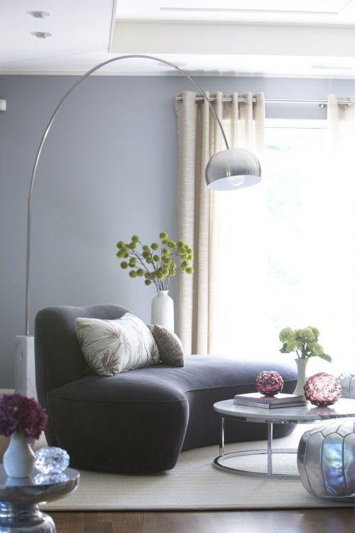 Chair, lamp and color flowers.