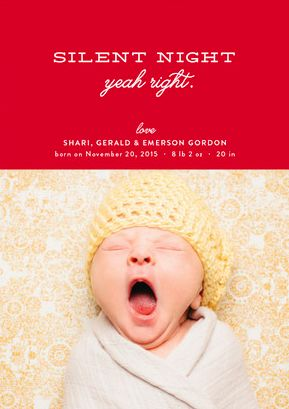 A funny holiday themed baby announcement - Wishful Thinking Holiday Birth Announcements by Carrie ONeal at minted.com