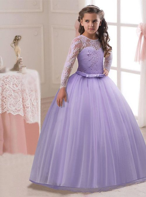 USA Long Princess Girls Dress Flower Solid Baby Lace Party Gown Formal Dresses