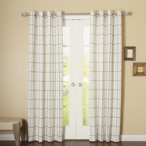 Grid Stitched Grommet Curtain Panel (Set of 2)