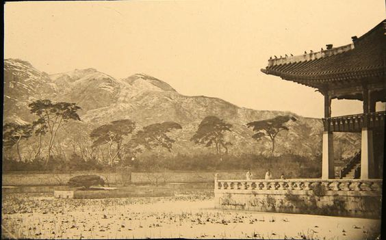 Pavilion in Gyeongbuk-gong, possibly in Biwon Garden. Percival Lowell photo ca. 1882.