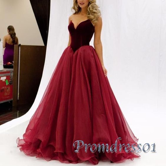 Beautiful red tulle poofy sweetheart dress for prom 2016, ball gown, prom dresses long #coniefox #2016prom