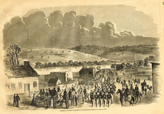 "Harper's History - 1862 - """"GENERAL STONE'S DIVISION AT EDWARDS'S FERRY"""" - Lithograph"