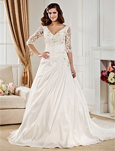 Ball Gown V-neck Chapel Train Taffeta  Wedding Dress