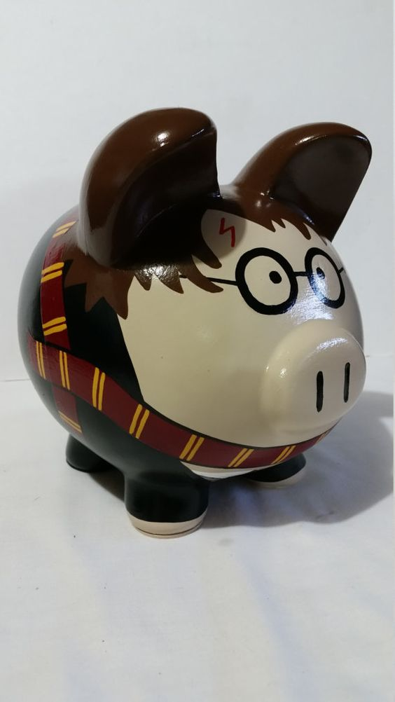 Personalized Handpainted Piggy Bank Large Harry by PigPatrol