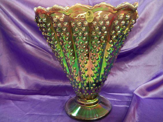 FENTON GLASS - Plum Opalescent Iridized Hobnail Fan Vase - Excellent Condition!