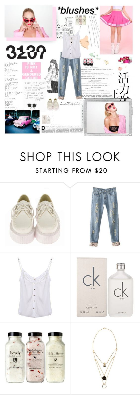 """pink flamingos, always fascinated me"" by spacelava ❤ liked on Polyvore featuring Retrò, Calvin Klein, Polaroid and Maison Margiela"